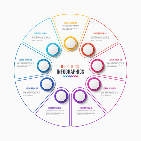 Vector 9 parts infographic design, circle chart, presentation template on white background. Global swatches.
