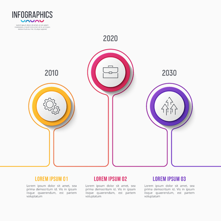 Vector 3 steps infographic design, timeline chart, presentation template on white background. Global swatches. Illustration