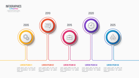 Vector 5 steps infographic design, timeline chart, presentation template on white background. Global swatches.