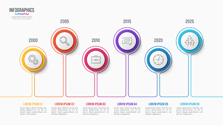 Vector 6 steps infographic design, timeline chart, presentation template on white background. Global swatches.
