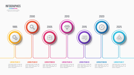 Vector 7 steps infographic design, timeline chart, presentation template on white background. Global swatches.