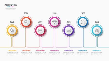 Vector 7 stappen infographic ontwerp, tijdlijngrafiek, presentatiesjabloon op witte achtergrond. Wereldwijde stalen.