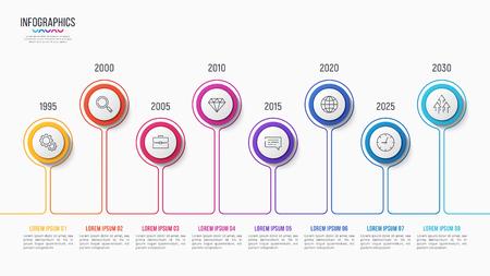 Conception infographique vectorielle 8 étapes, tableau chronologique, modèle de présentation sur fond blanc. Échantillons globaux.