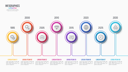 Vector 8 steps infographic design, timeline chart, presentation template on white background. Global swatches.