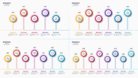 Infographic Designe der Schritte des Vektors 5 6 7 8, Zeitachse-Diagramme, Darstellungsschablonen auf weißem Hintergrund. Globale Farbfelder.