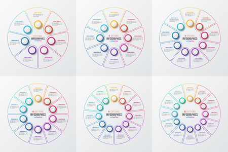 Vector 7-12 parts infographic circle charts Çizim
