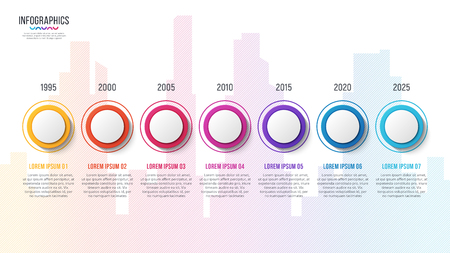 City skyline vector 7 steps infographic timeline Stock fotó - 94897306