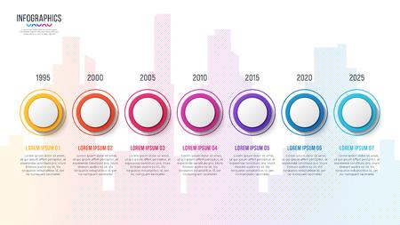 City skyline vector 7 steps infographic timeline Illustration