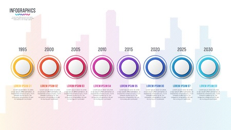 City skyline vector 8 steps infographic design, timeline chart, presentation template on white background. Global swatches.