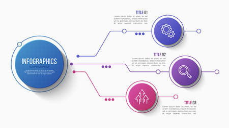 Vector 3 options infographic design, structure chart, presentation template. Editable stroke and global swatches. Ilustrace