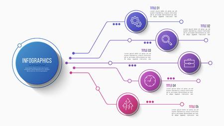 ベクトル5オプションインフォグラフィックデザイン、構造チャート、プレゼンテーションテンプレート。編集可能なストロークとグローバルスウォ