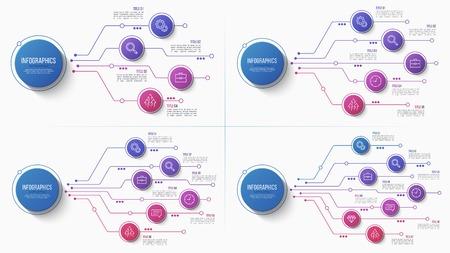 4 5 6 7 オプションインフォグラフィックベクトルデザイン、構造チャート、プレゼンテーションテンプレート。編集可能なストロークとグローバルス  イラスト・ベクター素材