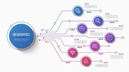 Design de vetor infográfico de 7 opções, gráfico de estrutura, modelo de apresentação. Traçado editável e amostras globais. Ilustración de vector