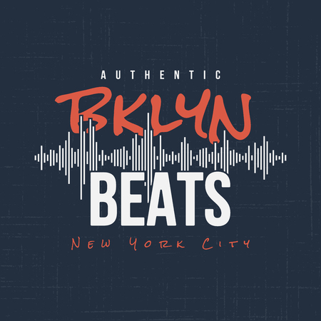 Brooklyn beats. T-shirt and apparel vector design, typography, print, logo, label, poster Global swatches  イラスト・ベクター素材