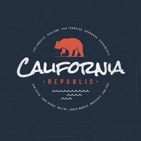 California republic. T-shirt and apparel vector design, typography, print, logo, label, poster Global swatches