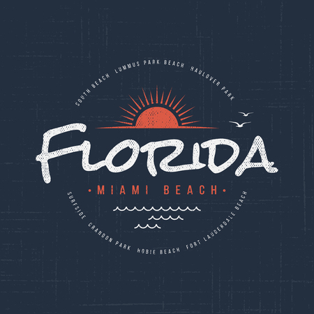 Florida Miami beach. T-shirt and apparel design