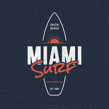 Miami Florida surf. T-shirt and apparel design Çizim