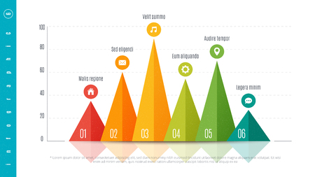 Textured infographic bar chart template with 6 options 일러스트