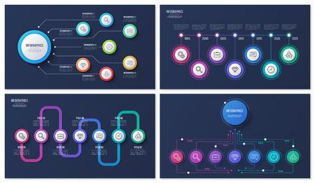 Set of vector 7 options infographic designs 일러스트