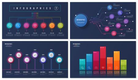 Set of vector 7 options infographic designs Illusztráció