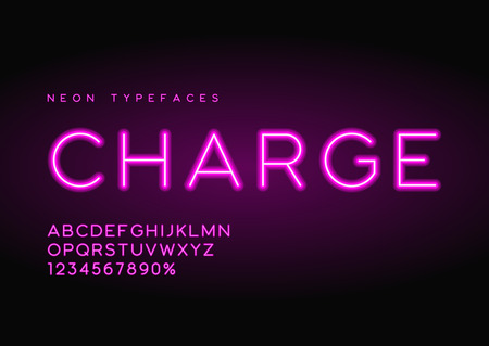 Charge vector linear neon typefaces, alphabet, letters, font, ty Stock Vector - 96152060