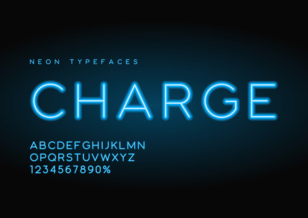 Tipografía de neón lineal de vector de carga, alfabeto, letras, fuente, ty