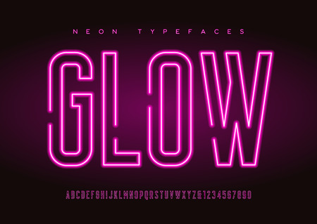 Glowing vector linear neon typefaces, alphabet, letters, font, t