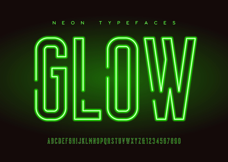 Glowing vector linear neon typefaces, alphabet, letters, font, t