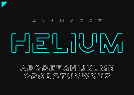 Alfabeto lineare futuristico minimalista di vettore di elio, carattere tipografico, l
