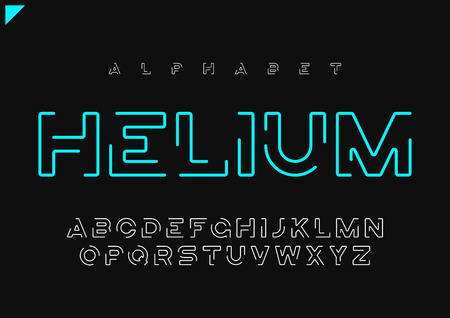 Helium vector minimalist futuristic linear alphabet, typeface, l Иллюстрация