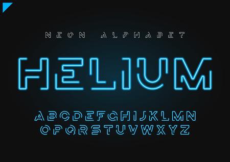 Helium vector futuristic linear neon alphabet, typeface, letters