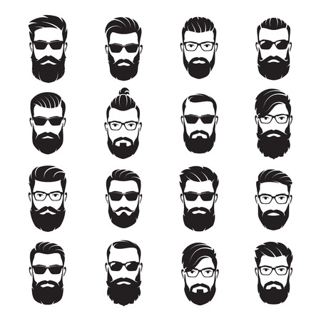 Set of vector bearded men faces hipsters with different haircuts