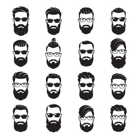 Zestaw wektor brodaty mężczyzn twarze biodrówki z różnymi fryzurami
