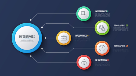 Vector 5 options infographic design, structure chart, presentati 일러스트