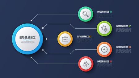 Vector 5 options infographic design, structure chart, presentati Vettoriali