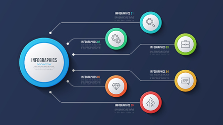 Vector 6 options infographic design, structure chart, presentati Ilustrace