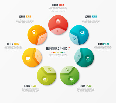 Circle chart template with seven options. Vector design for infograph. Ilustração