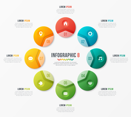 Circle chart template with 8 options. Vector design for infograp Stock Illustratie