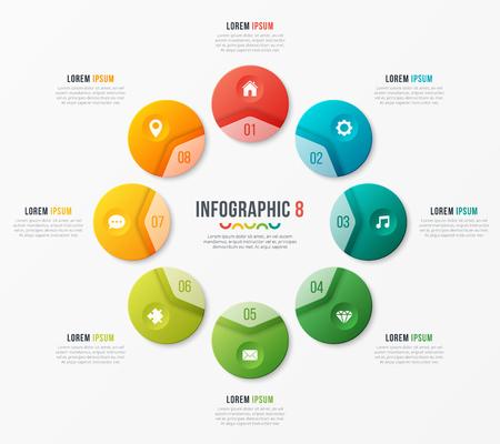 Modèle de graphique circulaire avec 8 options. Conception de vecteur pour infograp Vecteurs