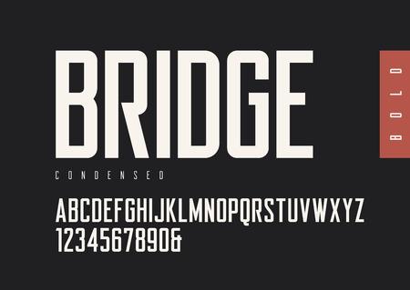 Condensed bold retro sans serif style. Ilustração