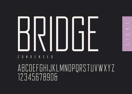 Condensed light retro sans serif. Vector typefaces, uppercase al Zdjęcie Seryjne - 96676217