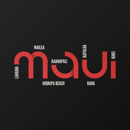 하와이 마우이 벡터 티셔츠 및 의류 디자인 일러스트