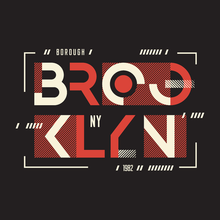 T-shirt e abbigliamento di Broolklyn con disegno geometrico, tipografia Archivio Fotografico - 97071723