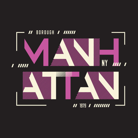 Manhattan New York vector t-shirt and apparel geometric design, 矢量图像