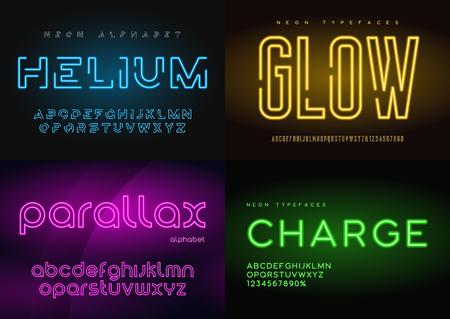 Zestaw świecących neonowych krojów pisma, alfabetów, liter, czcionek,