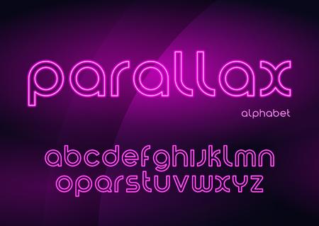 Parallax vector linear neon typefaces, alphabet, letters, font, Çizim