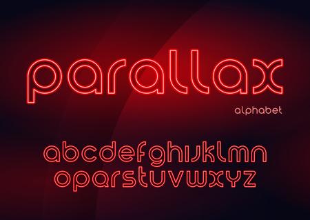 Parallax vector linear neon typefaces, alphabet, letters, font, Ilustração