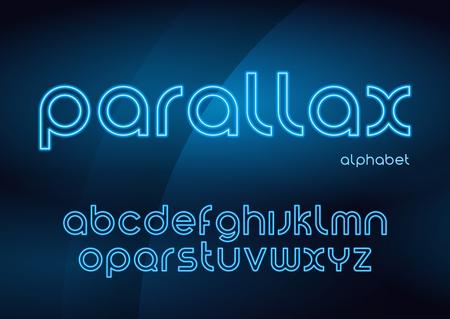 Parallax vector linear neon typefaces, alphabet, letters, font,  イラスト・ベクター素材