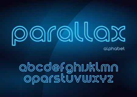Parallax vector linear neon typefaces, alphabet, letters, font, Illustration