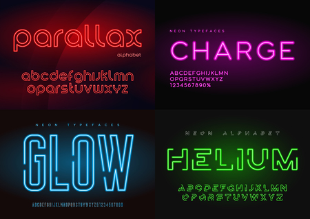 Set of glowing neon vector typefaces, alphabets, letters, fonts,